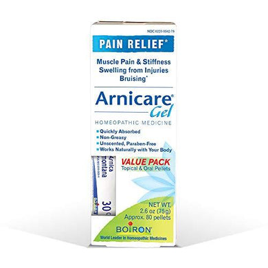 Boiron Arnicare Value Pack 2.6 Ounce (Pack of 1) Gel + 80 Pellet Tube Homeopathic Medicine for Pain Relief