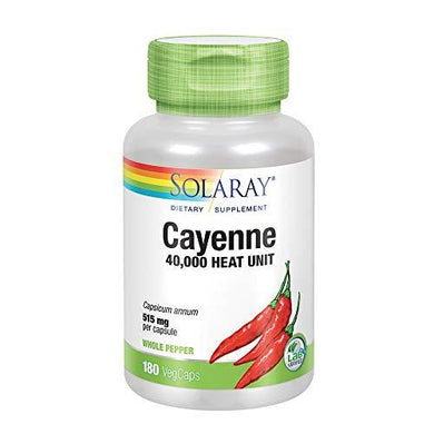 Solaray Cayenne Pepper 515 mg | 40,000 Heat Unit | Healthy Digestion, Circulation, Metabolism & Cardiovascular Support | Non-GMO | 180 VegCaps, [wellica]