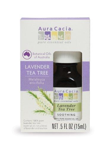 Aura Cacia Pure Lavender Tea Tree Essential Oil | 0.5 fl. oz. in Box | Melaleuca ericifolia