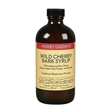 Honey Gardens Wild Cherry Bark Syrup with Apitherapy Raw Honey, Propolis & Wild Crafted Herbs | Traditional Respiratory Formula | 8 fl oz