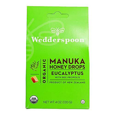 Wedderspoon Organic Manuka Honey Drops, Eucalyptus + Bee Propolis, Unpasteurized, Genuine New Zealand Honey, Perfect Remedy For Dry Throats, 4.0 Oz, Black, [wellica]
