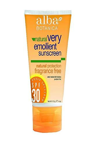 Alba Botanica - Very Emollient Natural Protection Sunblock Fragrance Free 30 SPF - 4 Fl. Oz, Clear