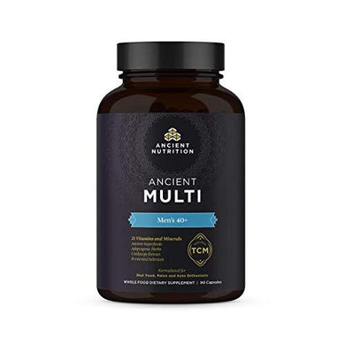 Ancient Nutrition, Ancient Multi Men's 40+ - 21 Vitamins & Minerals, Adaptogenic Herbs, Fermented Selenium, Paleo & Keto Friendly, 90 Capsules