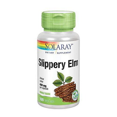 Solaray Slippery Elm Bark 400mg | Healthy Respiratory Tract Function, Throat Comfort & Gastrointestinal Support | Non-GMO & Lab Verified | 100 VegCaps