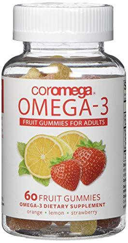 Coromega Adult Omega 3 Fish Oil Gummies, 50mg DHA and 10 mg EPA of Omega-3s Fatty Acids, Dietary Supplement, Orange, Lemon, and Strawberry Banana Flavors, One Bottle, 60 Gummies per Bottle, [wellica]