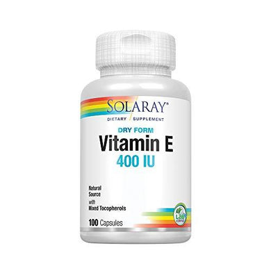 Solaray Vitamin E, Dry 400 IU w/Mixed Tocopherols | Non-Oily | Healthy Cardiac Function, Antioxidant Activity & Skin Health Support | 100 Capsules