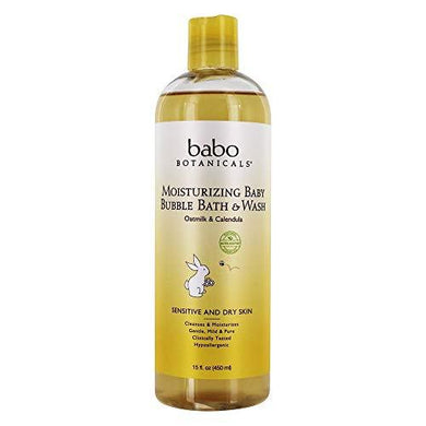 Babo Botanicals Moisturizing Baby Bubble Bath & Wash, Oatmilk Calendula, 15 fl oz (450 ml)