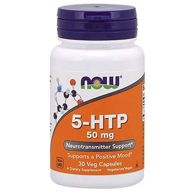 NOW Supplements, 5-HTP (5-hydroxytryptophan) 50 mg, Neurotransmitter Support*, 30 Veg Capsules