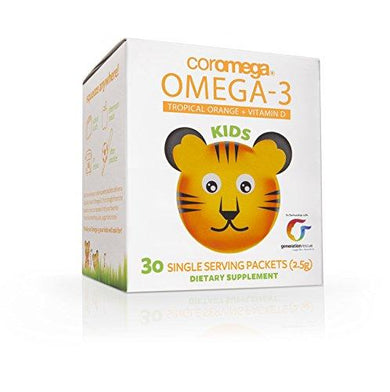 Coromega Kids Omega 3 Fish Oil Supplement, 650mg of Omega-3s, Tropical Orange + Vitamin D, 30 Single Serve Squeeze Packets, [wellica]