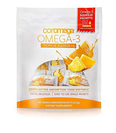 Coromega Omega 3 Fish Oil Supplement, 650mg of Omega-3s with 3X Better Absorption Than Softgels, Tropical Orange Flavor, 120 Single Serve Squeeze Packets, [wellica]