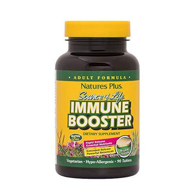 NaturesPlus Source of Life Immune Booster Adult Formula, Rapid & Extended Release - 90 Vegetarian Tablets - Natural Immunity Booster Supplement - Vitamins A, C, E & Zinc - Gluten-Free - 30 Servings