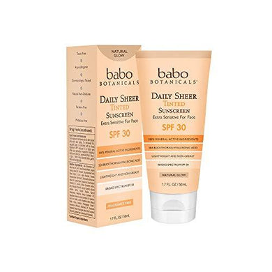 Babo Botanicals Daily Sheer Moisturizing Mineral Tinted Sunscreen SPF 30, Natural Glow with Organic Ingredients, Fragrance-Free - 1.7 oz.