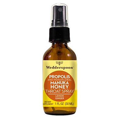 Wedderspoon Propolis and Manuka Honey Throat Spray, Lemon Ginger, 1 Oz