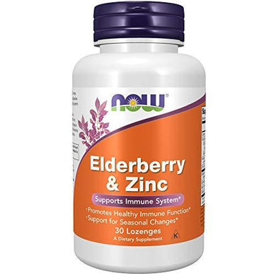 NOW Supplements, Elderberry & Zinc (Elderberry Concentrate with Zinc and Vitamin C, plus Echinacea, Propolis and Slippery Elm), 30 Lozenges, [wellica]