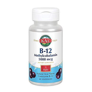 KAL B-12 Methylcobalamin 5000 mcg Lozenges | Natural Acai Flavor | Healthy Metabolism, Energy, Nerve & Red Blood Cell Support | 60 Lozenges