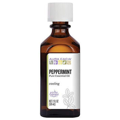 Aura Cacia 100% Pure Peppermint Essential Oil | GC/MS Tested for Purity | 60 ml (2 fl. oz.) | Mentha piperita