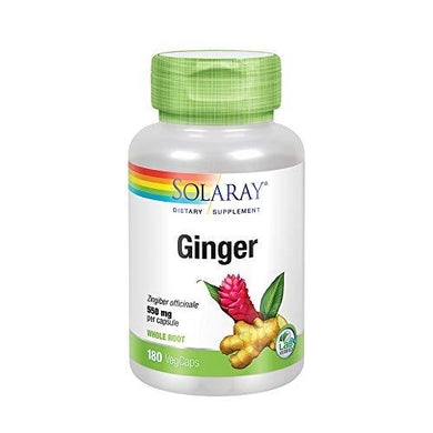 Solaray Ginger Root 550mg | Healthy Digestion, Joints and Motion & Stomach Discomfort Support | Whole Root | Non-GMO & Vegan | 180 VegCaps