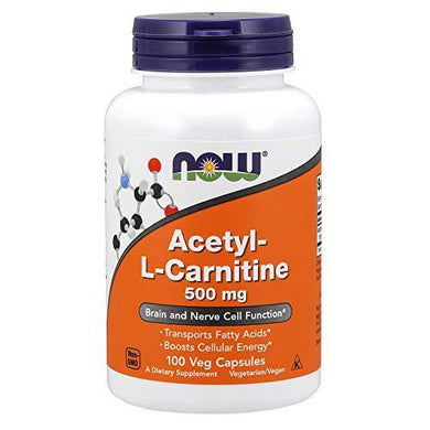 NOW Supplements, Acetyl-L Carnitine 500 mg, Amino Acid, Brain And Nerve Cell Function*, 100 Veg Capsules, [wellica]