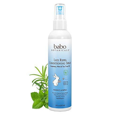 Babo Botanicals Lice Repel Conditioning Spray with Rosemary, Tea Tree and Mint Oils, Hypoallergenic, Vegan, for Kids - 8 oz, White (BABO-8051)