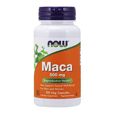 NOW Supplements, Maca (Lepidium meyenii) 500 mg, For Men and Women, Reproductive Health*, 100 Veg Capsules, [wellica]