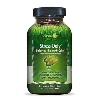 Irwin Naturals Stress-Defy Healthy Stress Response Support Supplement - Relax Body & Mind with GABA, Rhodiola, Scullcap & L-Theanine - 84 Liquid Softgels, [wellica]
