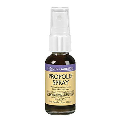 Honey Gardens Bee Propolis Throat Spray | with Apitherapy Raw Honey, Licorice Root and Usnea | 50 Servings | 1 Fl. Oz., [wellica]