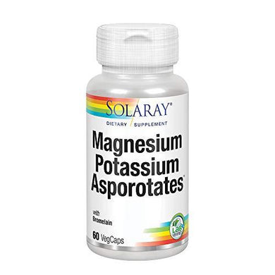 Solaray Magnesium and Potassium Asporotates w/Bromelain | Healthy Electrolyte, Muscle, Heart & Cellular Support | 60 VegCaps