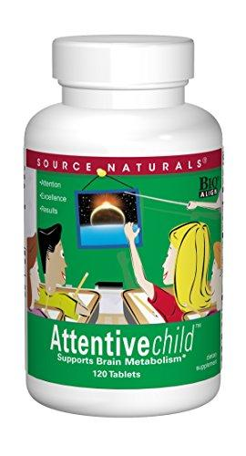 Home Product Image Source Naturals Attentive Child - Healthy Cognitive Nutrients for Active Children - Improved Focus & Attention with DMAE, Magnesium, Zinc & Grape Seed Extract - 120 Tablets
