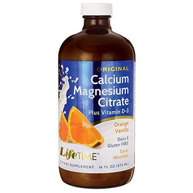 LifeTime Calcium Magnesium Citrate, Orange/Vanilla, 16 Ounce Glass Bottle, [wellica]