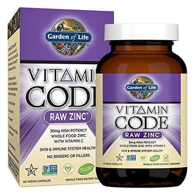 Vitamin Code Raw Zinc - Whole Food, High Potency with Vitamin C for Skin, Eye, Prostate and Immune System Health (60 Vegan Capsules) Pack of 2
