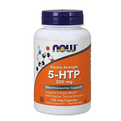NOW Supplements, 5-HTP (5-hydroxytryptophan) 200 mg, Double Strength, Neurotransmitter Support*, 120 Veg Capsules, [wellica]