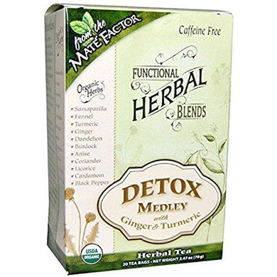 Mate Factor Detox Medley Tea with Ginger & Turmeric 20 tea bags - case of 6
