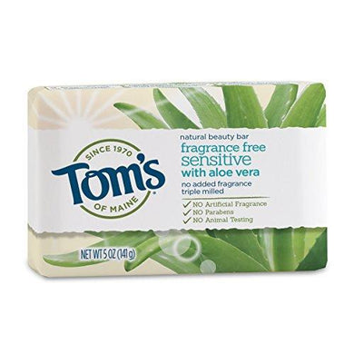 Tom's of Maine Natural Beauty Bar Soap with Aloe Vera, Fragrance Free, 5 oz, [wellica]