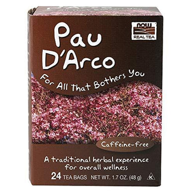 NOW Foods, Pau D'Arco Tea, A Traditional Herbal Experience, Overall Wellness, Premium Unbleached Tea Bags with No-Staples Design, 24-Count, [wellica]