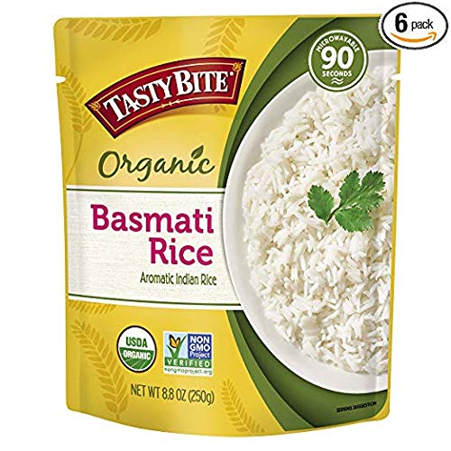 Organic Basmati Rice 8.8 Ounce (Pack of 6), Indian-Style Organic Basmati Rice, Fully Cooked, Ready to Serve, Microwaveable, Vegan Gluten-Free No Preservatives