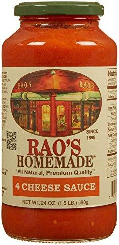 Rao's Homemade Four Cheese Sauce, Classic, Creamy Italian Tomato Sauce with Four Italian Cheeses, Great on Pasta, Made With Italian Tomatoes, No Sugar Added, No Onions, No Garlic, 24 Ounce Jar