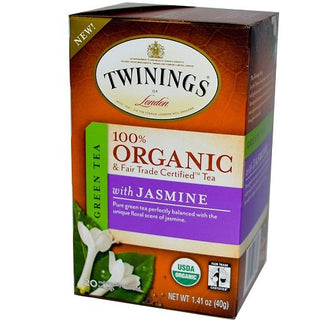 Twinings of London Organic and Fair Trade Certified Jasmine Green Tea Bags, 20 Count (Pack of 1), [wellica]
