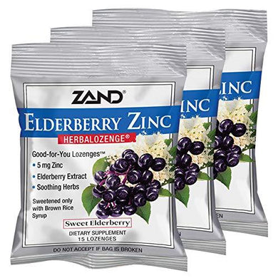 Zand HerbaLozenge Elderberry Zinc | Good-for-You Lozenges for Dry Throats | No Corn Syrup, No Cane Sugar, No Colors | 15 Lozenge, 3 Bags