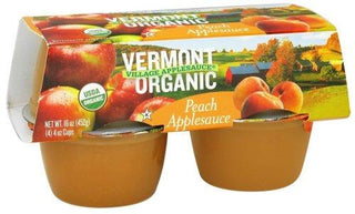 Vermont Village Organic Peach Applesauce, 4 Ounce - 12 per case., [wellica]