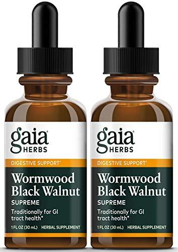 Gaia Herbs Wormwood Black Walnut Supreme, Liquid Herbal Extract, 1 Ounce (Pack of 2) - Supports Healthy Intestinal Flora & GI Tract Health