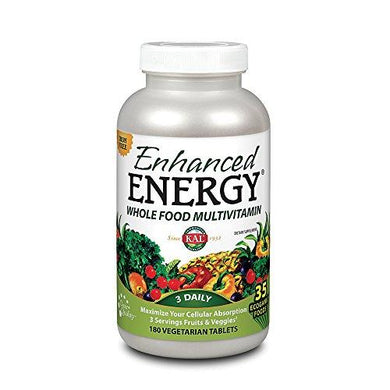 KAL® Enhanced Energy Multivitamin | Whole Food Based Vitamins & Minerals w/ Antioxidants, Digestive Enzymes & Natural Carotenoids | 180 Capsules