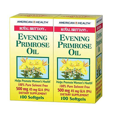 American Health Royal Brittany Evening Primrose Oil Softgels, 2 Pack - Promotes Women's Health - Nutritional Support for Women with PMS - Non-GMO, Gluten-Free - 500 mg, 100 Count, 200 Total Servings