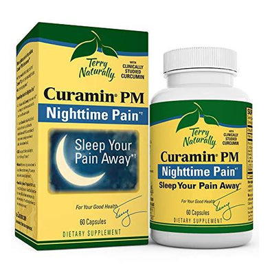 Terry Naturally Curamin PM - 60 Vegan Capsules - Non-Habit Forming Nighttime Pain Relief Supplement, Contains Curcumin & Melatonin - Non-GMO, Gluten-Free, Kosher - 30 Servings
