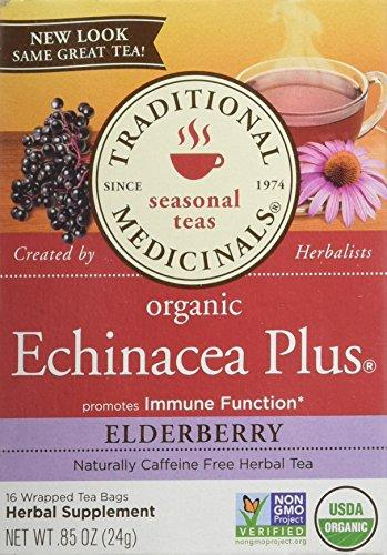Traditional Medicinals Organic Echinacea Plus Elderberry Tea Bags, 16 Count