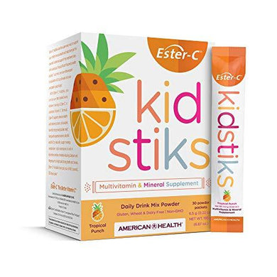 American Health Ester-C Kidstiks Powder Packets - 250 mg - Tropical Punch - 30 Packets (30 Servings), [wellica]