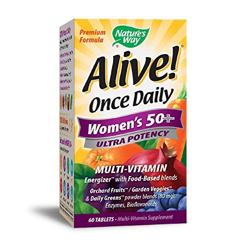 Nature's Way Alive!® Once Daily Women's 50+ Multivitamin, Ultra Potency, Food-Based Blends (230mg per serving), 60 Tablets, [wellica]