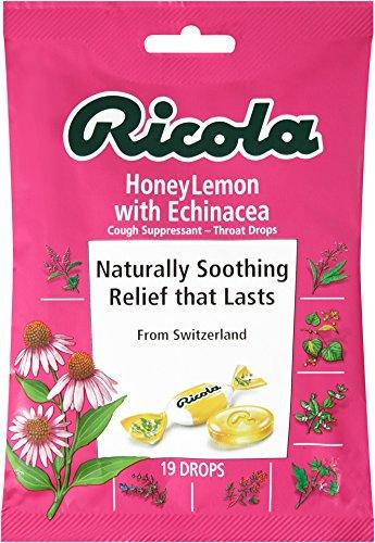 Ricola HoneyLemon with Echinacea Cough Suppressant Throat Drops, 19 Drops