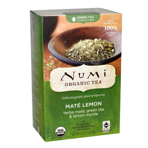 Numi Tea Rainforest Green Tea Supplement, Mate Lemon, 18 Count