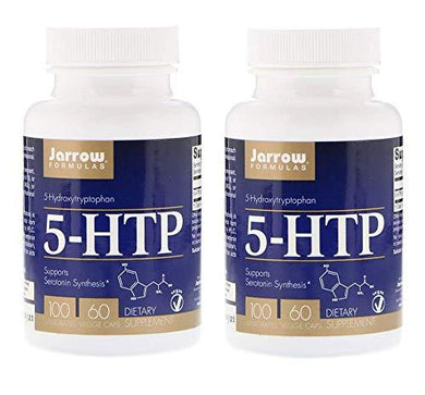 Jarrow Formulas 5-HTP (5-Hydroxytryptophan) Supports Serotonin Synthesis 100 Milligrams as a Dietary Supplement (60 Veggie Caps) Pack of 2