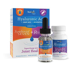 Synthovial Seven Hyaluronic Acid Liquid Plus Resveratrol Capsules - Supercharge Your Joint Health By Hyalogic - 1 Ounce & 30 Capsules